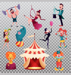 Isolated clown and magician near circus tent or vector