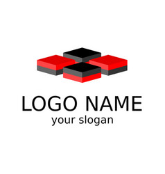 Isometric logo four squares of black and red vector