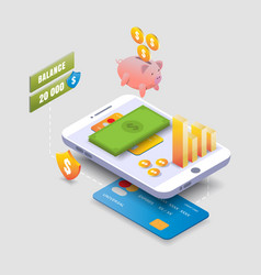 isometric mobile phone piggy bank with dollar vector image