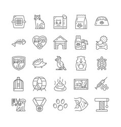 Large set black and white line drawn pet vector