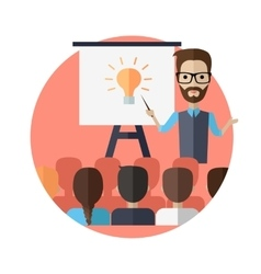 Lecturer Making a Presentation Near Whiteboard vector image