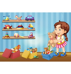 Little girl and many toys vector