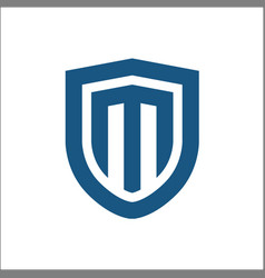 M shield logo template vector