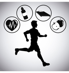 Man running and icon set of Healthy lifestyle vector