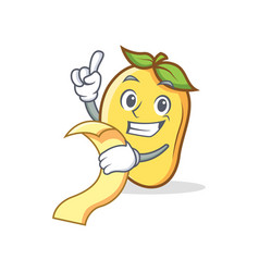 mango character cartoon mascot with menu vector image