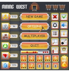 Mining Game Interface vector image