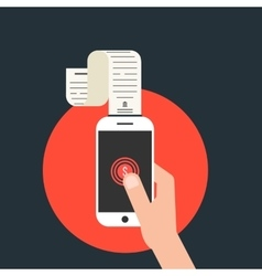 Mobile payments with smartphone and paycheck in vector