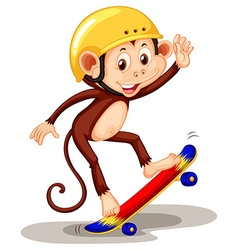 Monkey playing on skateboard vector image