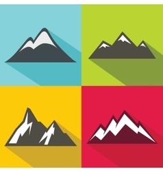 Mountain flat icons with long shadow on color vector