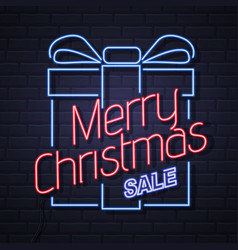 neon sign merry christmas on brick wall background vector image