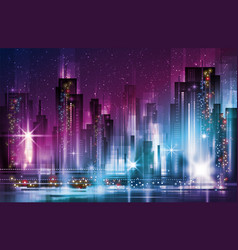 Night cityscape with illuminated buildings and vector