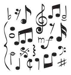 notes music hand drawn muzician staff vector image