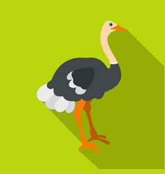 Ostrich icon flat style vector