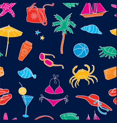 pattern of beach recreation symbols vector image