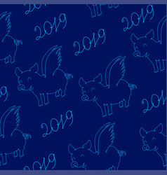 pig symbol of 2019 year seamless texture vector image