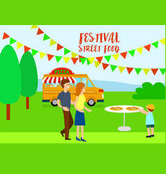 pizza street food festival background flat style vector image