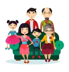 Portrait of fun smiling cartoon happy family vector image