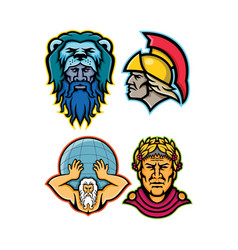 Roman and greek heroes mascot collection vector