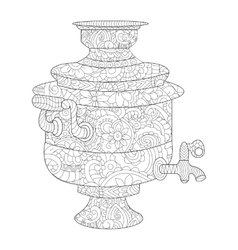 Samovar coloring book for adults vector
