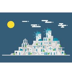 Santorini cityscape windmill village island vector image