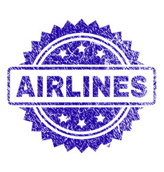 Scratched airlines stamp seal vector