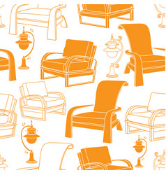 seamless pattern with lamp and chair o vector image