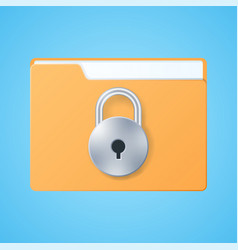 secure files folder with lock on blue background vector image