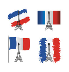 set eiffel tower with france flag vector image