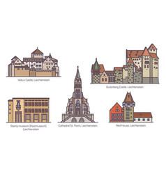 Set liechtenstein old architecture in thin line vector