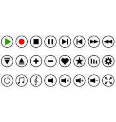Set media player button icon button vector