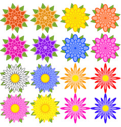 Set of blue red yellow white pink orange vector