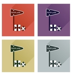 Set of flat icons with long shadow North Pole vector