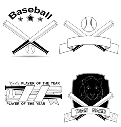 set of stylish baseball shortcuts vector image