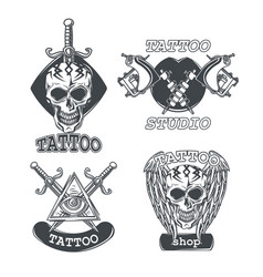 set tattoo emblems labels badges vector image