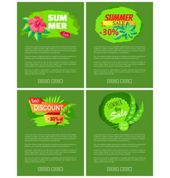 set web posters summer sale emblems exotic flowers vector image