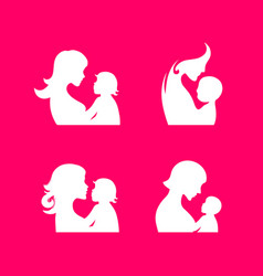 silhouettes mother and child vector image