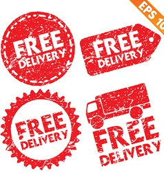 Stamp sticker Free Shipping tag collection vector image