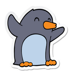 Sticker of a cartoon excited penguin vector