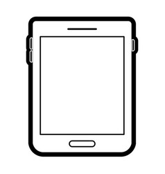 tablet device icon in black silhouette with thick vector image