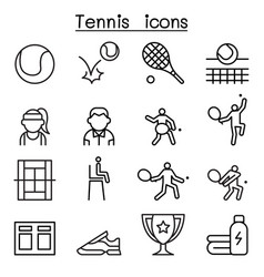 Tennis icon set in thin line style vector