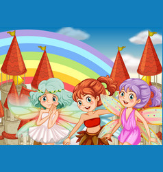 Three fairies and rainbow background vector