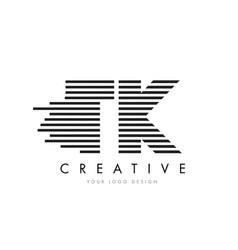 tk t k zebra letter logo design with black and vector image