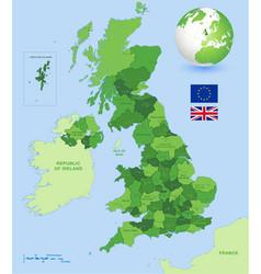 uk administrative green map set vector image