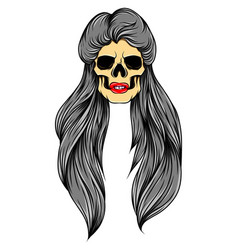 unique skull women with half wet vector image