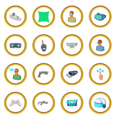 Virtual reality icons circle vector