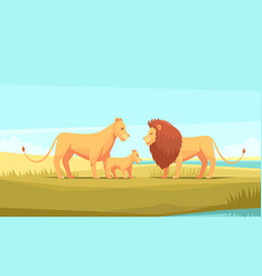 wild lion family composition vector image