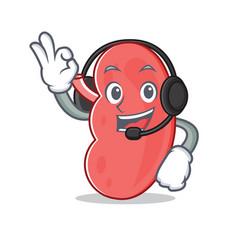 With headphone kidney mascot cartoon style vector