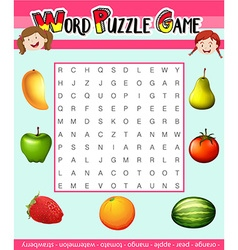 Word puzzle game template with fruit theme vector