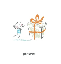 A man and a gift vector image vector image