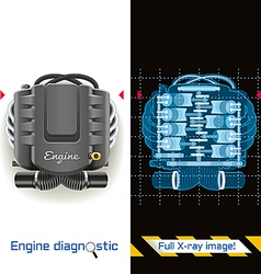 Engine Diagnostic Full X ray vector image vector image